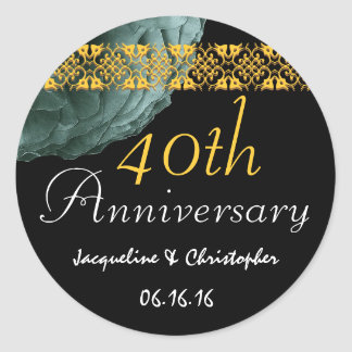 40th Anniversary TEAL & GOLD Rose Sticker