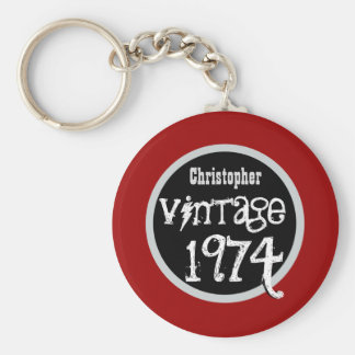 40th Birthday 1974 Vintage or Any Year RED V02 Keychain