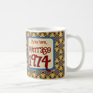 40th Birthday 1974 Vintage or Any Year V0C4 RED Coffee Mug