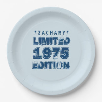 40th Birthday 1975 Limited Edition Custom E17 BLUE Paper Plate