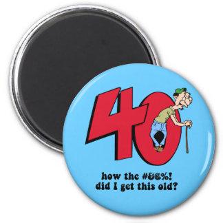 40th birthday 2 inch round magnet