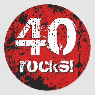 40th Birthday 40 Rocks! Grunge Red and Black A01B Round Sticker