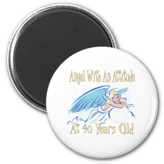 40th Birthday Angel With An Attitude 2 Inch Round Magnet