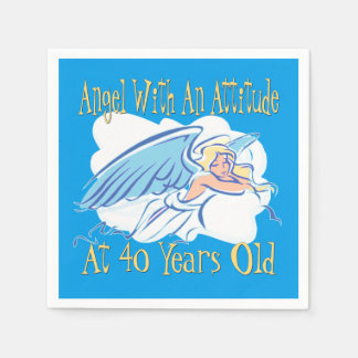 40th Birthday Angel With An Attitude Paper Napkins