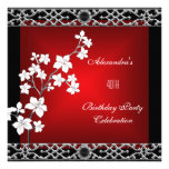 40th Birthday Asian Red Black Floral Silver White Personalized Invites