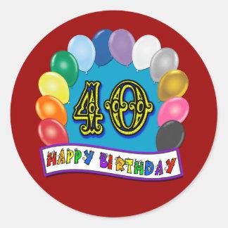 40th Birthday Balloons Design Classic Round Sticker