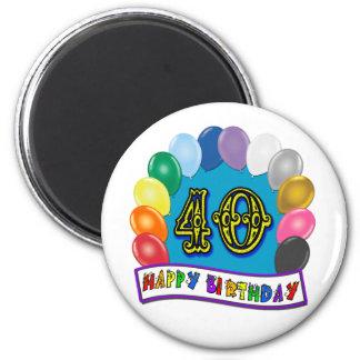 40th Birthday Balloons Design 2 Inch Round Magnet
