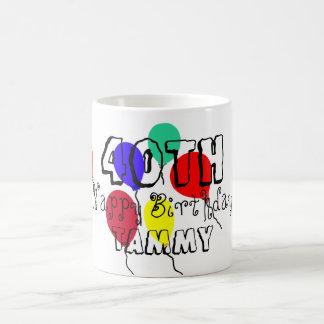 40th Birthday Balloons Personalized Milestone Mugs
