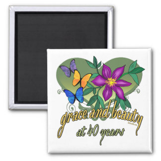 40th Birthday Beauty and Grace Fridge Magnet
