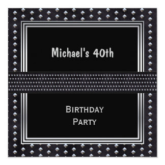40th Birthday Black Silver Studs Card