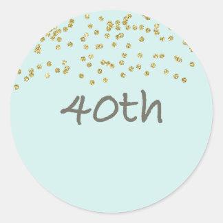 40th Birthday Confetti Classic Round Sticker