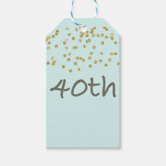 40th Birthday Confetti Pack Of Gift Tags