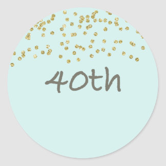 40th Birthday Confetti Round Sticker