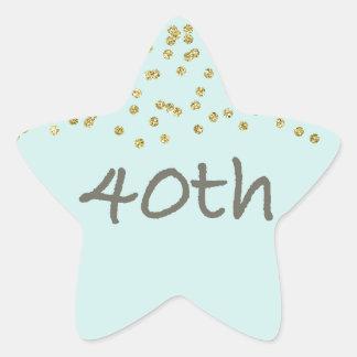 40th Birthday Confetti Star Sticker