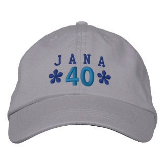 40th Birthday Custom BLUE Embroidery A02 Embroidered Baseball Caps