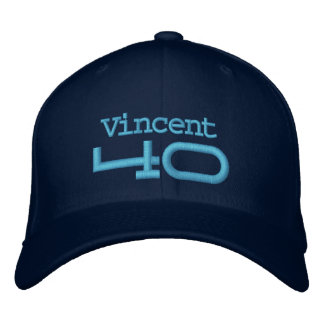 40th Birthday Custom Name BLUE Embroidery A02 Embroidered Hats