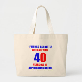 40th Birthday Design Large Tote Bag