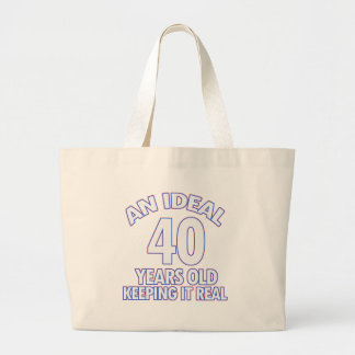 40th birthday designs large tote bag