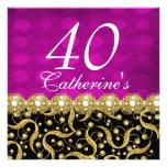 40th birthday elegant any age pink invitations