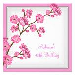 40th Birthday Elegant Asian Pink Flowers Invites