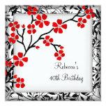 40th Birthday Elegant Asian Red Flowers White