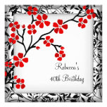 40th Birthday Elegant Asian Red Flowers White Custom Invitations