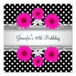 40th Birthday Elegant Black White spot Pink floral Custom Invite