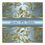 40th Birthday Elegant Blue Gold Floral