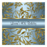 40th Birthday Elegant Blue Gold Floral Personalized Announcements
