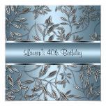 40th Birthday Elegant Blue Silver Floral
