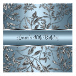 40th Birthday Elegant Blue Silver Floral Personalized Announcements