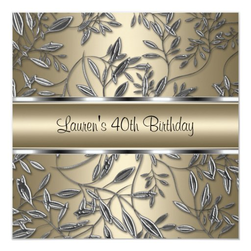 "40th Birthday Elegant Bronze Beige Silver Floral 5.25"" Square Invitation Card"