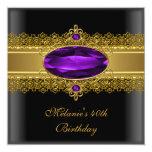 40th Birthday Elegant Lace Black Purple Gold