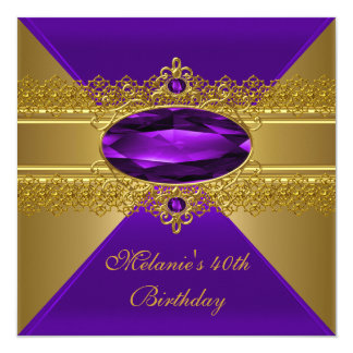 40th Birthday Elegant Lace Purple Gold Card