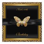 40th Birthday Elegant Leopard Gold Butterfly