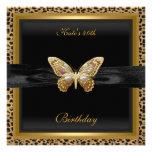 40th Birthday Elegant Leopard Gold Butterfly Custom Invitations