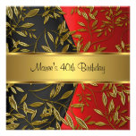 40th Birthday Elegant Red Gold Floral Black Announcements