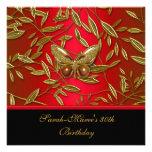 40th Birthday Elegant Rich Red Black Butterfly Custom Invitation