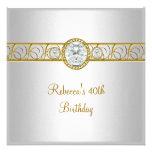 40th Birthday Elegant White Gold Diamond Jewel Personalized Invites
