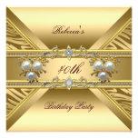 40th Birthday Elegant Zebra Gold Pearl Jewels Custom Invitations
