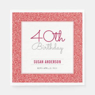 40th Birthday Faux Red Glitter Paper Napkin