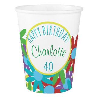 40th Birthday Floral Personalized Paper Cup