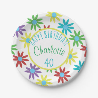40th Birthday Floral Personalized Paper Plate