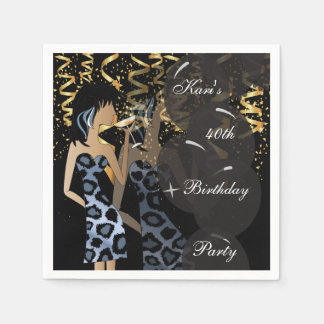 40th Birthday Girl Party Bash | Template | DIY Paper Napkin