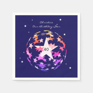 40th Birthday Globe of Stars Napkin