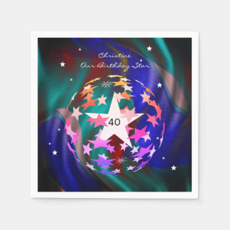 40th Birthday Globe of Stars Paper Napkin