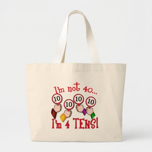 40th Birthday Humour T Shirt Jumbo Tote Bag Zazzle