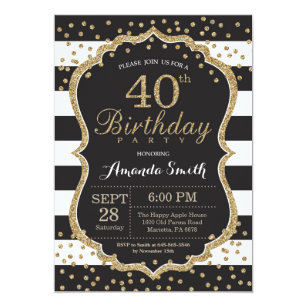 40th Birthday Invitation Black And Gold Glitter Card