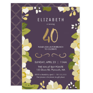 40th Birthday Invitation, Customize Floral w/ Gold Card