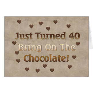 40th Birthday Means Chocolate Greeting Card